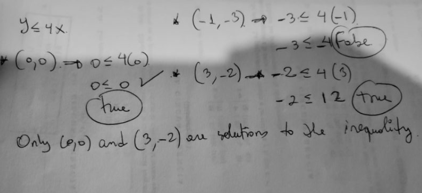 Using the inequality y ≤ 4x evaluate the points (0,0), (-1,-3) and (3,-2). Are the following points solutions of the inequality?