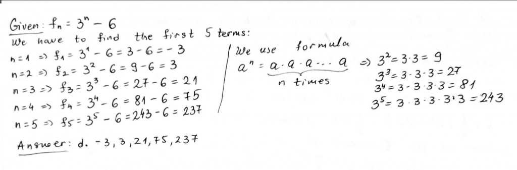 Find the first 5 terms of the sequence